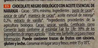 Chocolat noir huile essentielle orange - Ingredientes - es