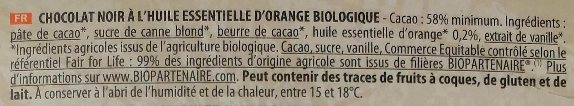 Chocolat Noir à l'huile Essentielle d'Orange Bio - Ingredients - fr