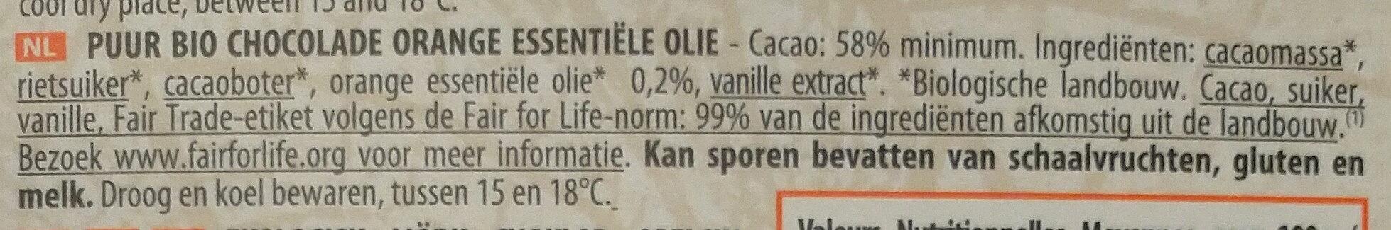 Chocolat noir huile essentielle orange - Ingrediënten - nl