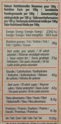 Chocolat noir huile essentielle orange - Información nutricional - fr