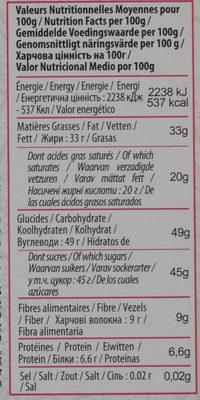 Noir Framboises - Nutrition facts