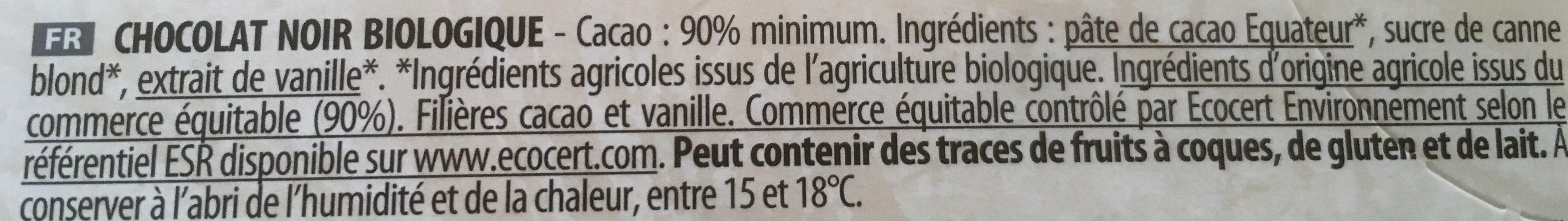 Chocolat Noir 90% Bio - Ingrediënten - fr