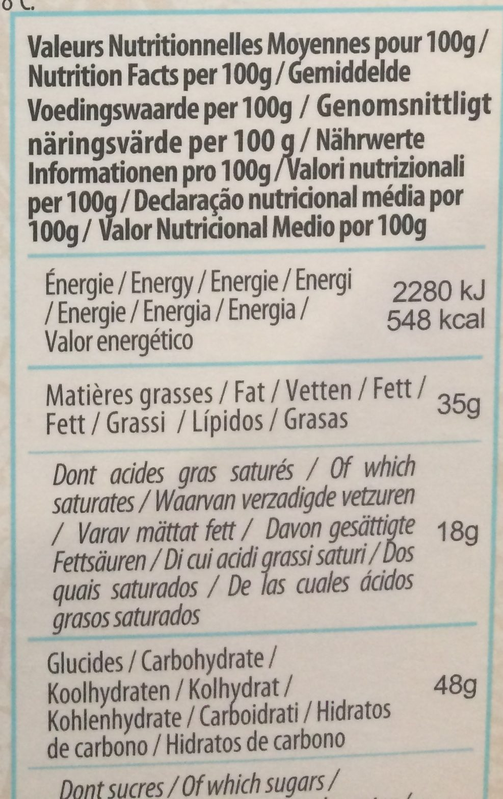 Chocolat Noir Noix De Coco - Nutrition facts