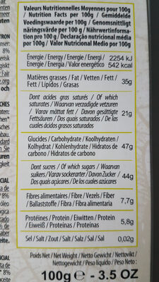Chocolat Noir Citron Gingembre - Valori nutrizionali - fr