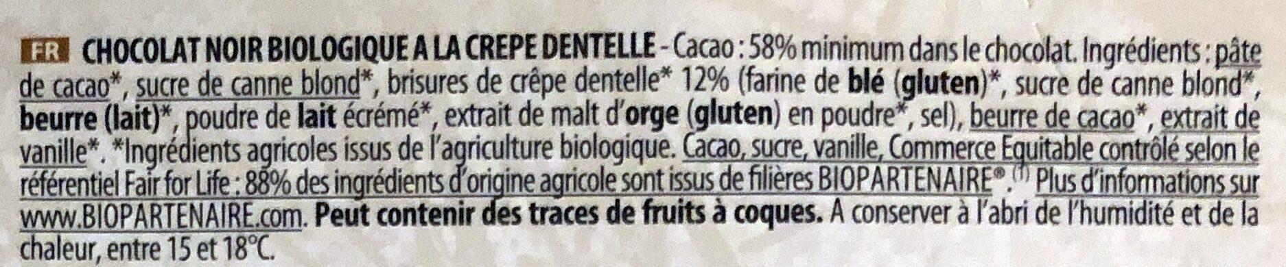 Chocolat Noir à la Crêpe Dentelle Bio - Ingredienti - fr