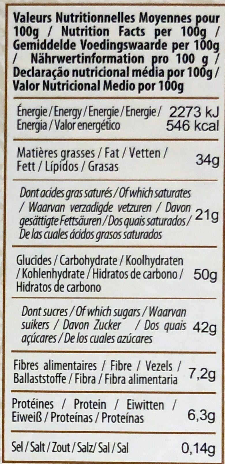 Noir biscuit crêpe dentelle - Voedingswaarden - fr