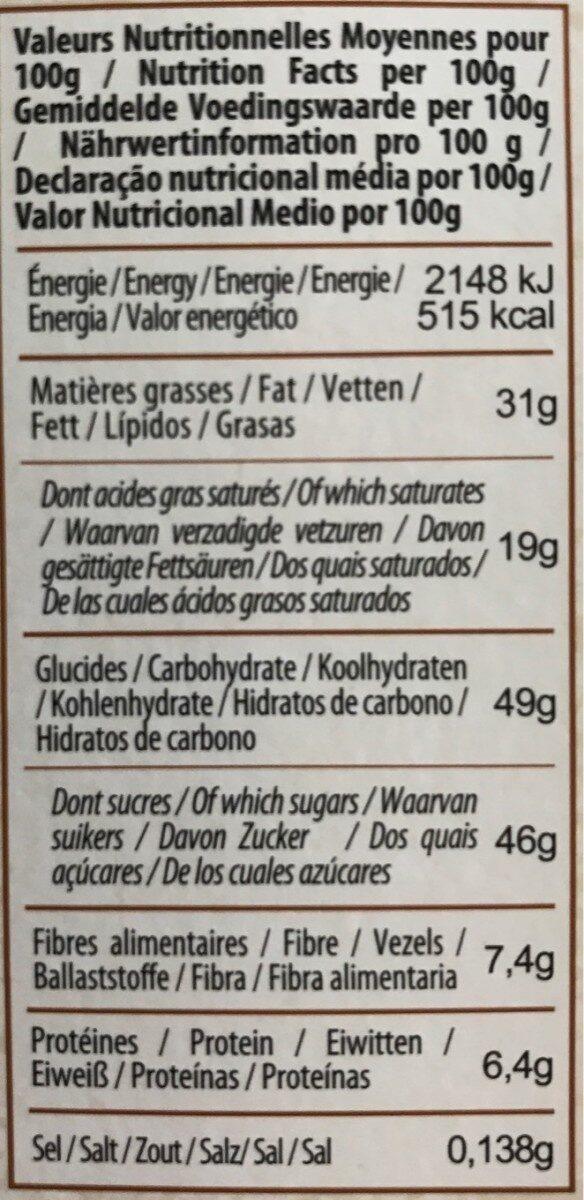 Chocolat Noir à la Crêpe Dentelle Bio - Valori nutrizionali - fr