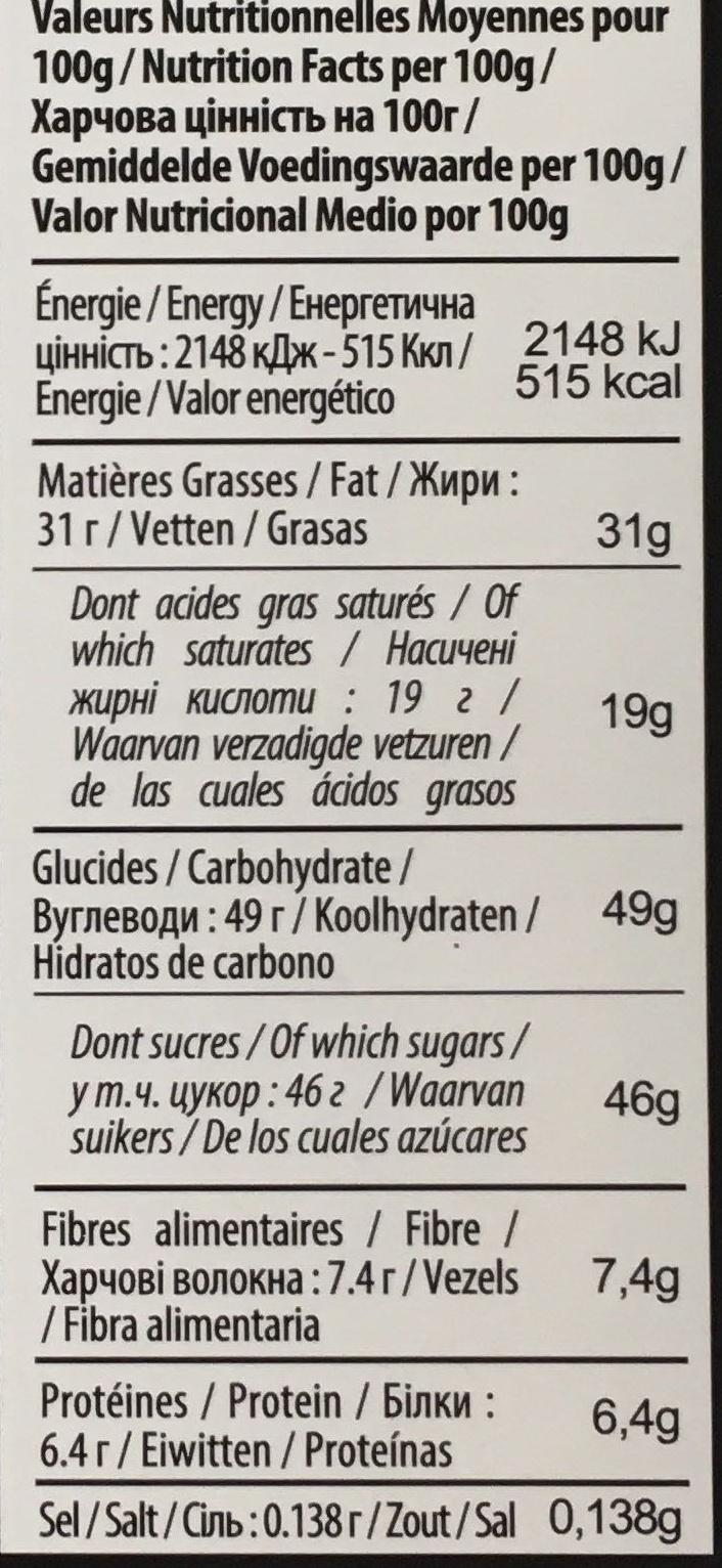 Noir biscuit crêpe dentelle - Voedigswaarden