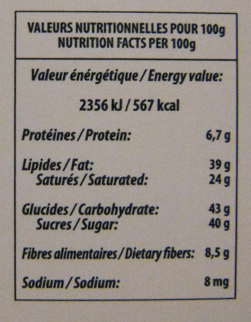 Simply dark - Informations nutritionnelles