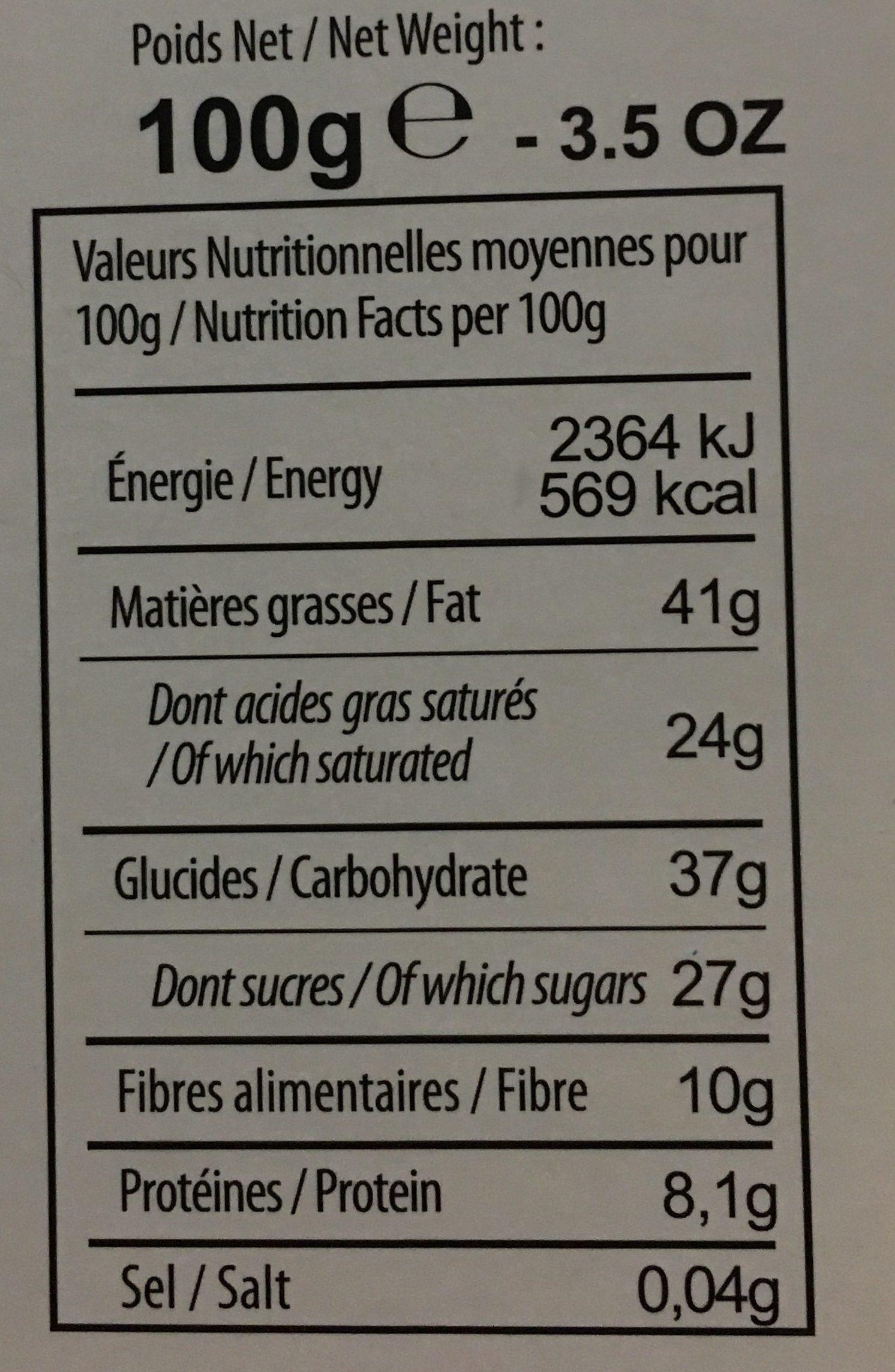 Chcolat noir 72% éclats de speculoos - Nutrition facts