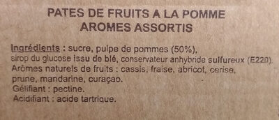 Pâtes de fruits de l'abbaye de valognes - Ingrediënten - fr