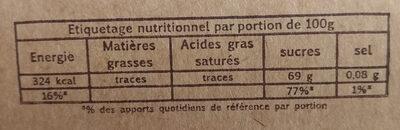 Pâtes de fruits de l'abbaye de valognes - Voedingswaarden - fr