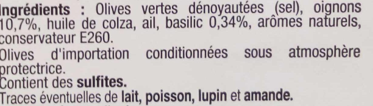 Olives à l'italienne, basilic & oignons doux - Ingrediënten - fr