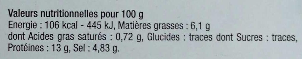 Lupin aux herbes de Provence - Informations nutritionnelles