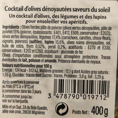 Cocktail d'olives dénoyautées Saveurs du Soleil - Informations nutritionnelles