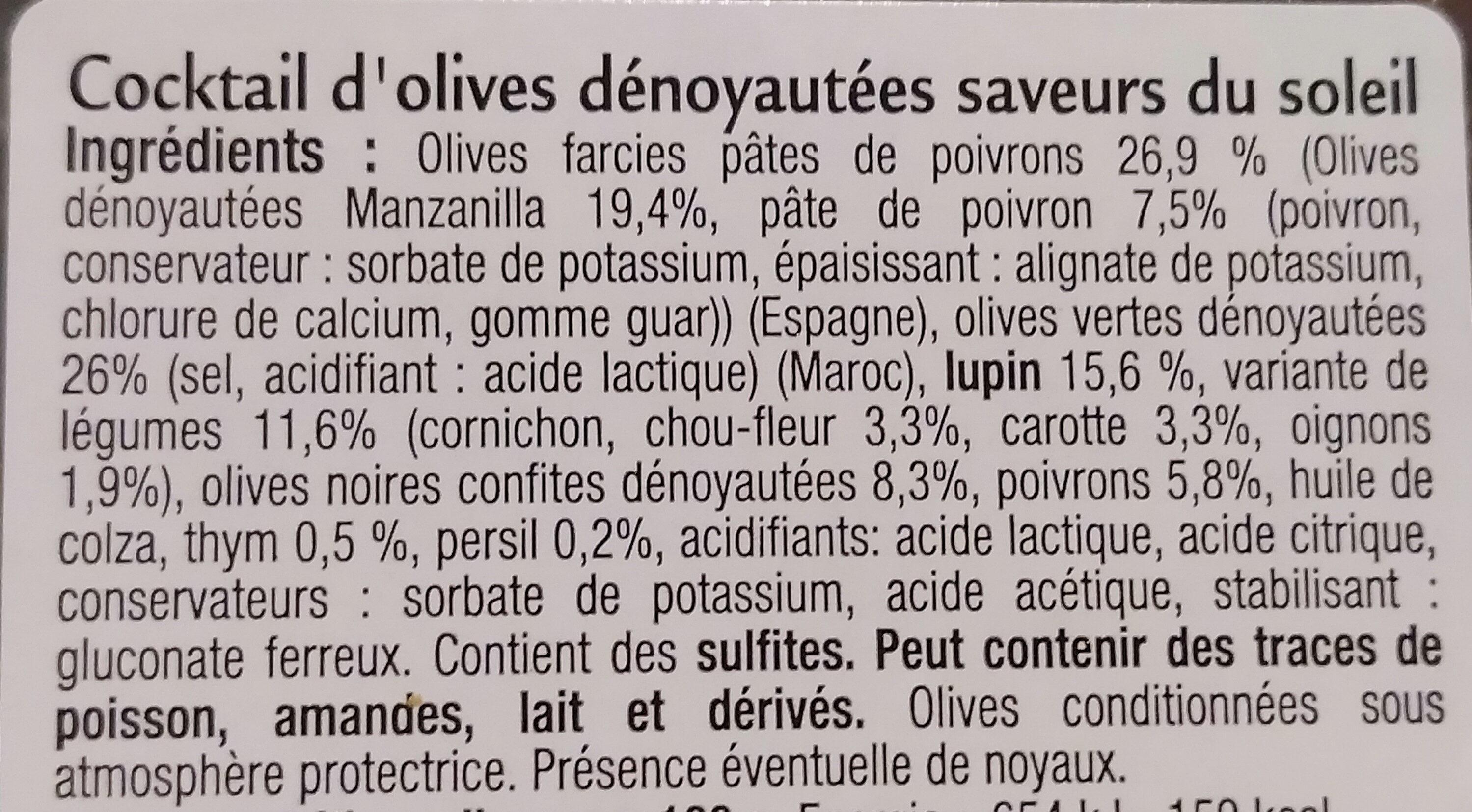 Cocktail d'olives Saveurs du Soleil Dénoyautées et Douces - Ingrédients - fr