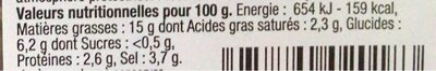 Cocktail d'olives Saveurs du Soleil Dénoyautées et Douces - Informations nutritionnelles - fr