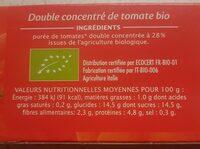 Double concentré de tomate Bio (28%) (Voir 2000000002768) - Informations nutritionnelles - fr