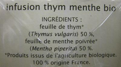Infusion Thym Menthe fraîcheur tonique Jardin Bio - Ingrediënten
