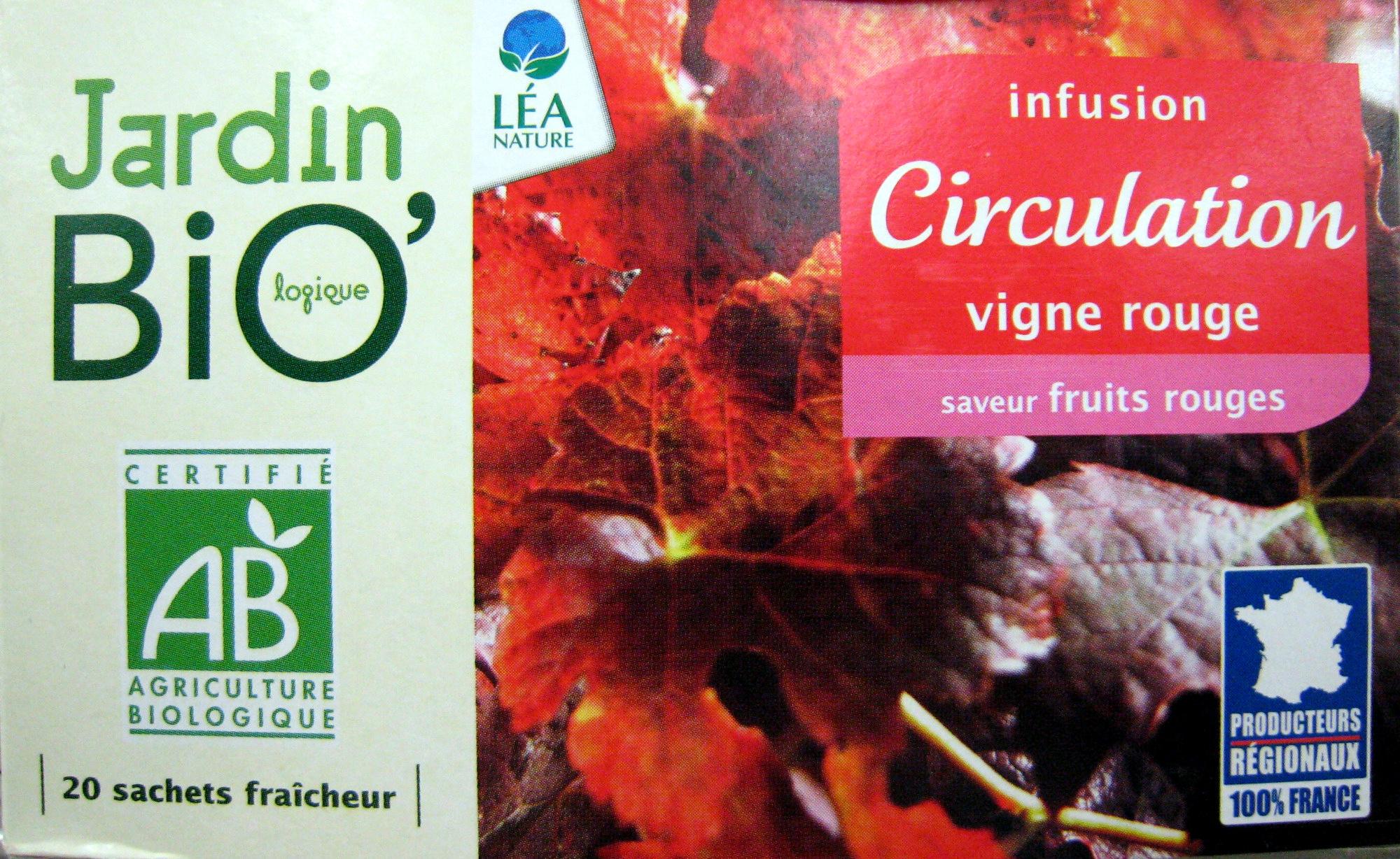 Infusion Circulation vigne rouge Jardin Bio 30 g 20 sachets de