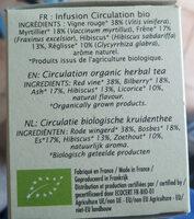 Infusion Circulation vigne rouge Jardin Bio - Ingrediënten