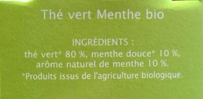 Thé vert menthe Jardin Bio - Ingrediënten