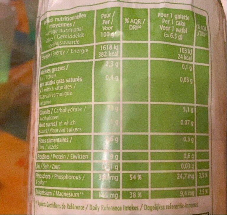 Galette riz complet quinoa - Informations nutritionnelles - fr
