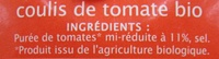 Coulis de tomate Bio 500 g - Jardin BIO' - Ingrédients