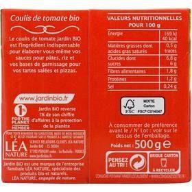 Coulis de tomate Bio 500 g - Jardin BIO' - Informations nutritionnelles