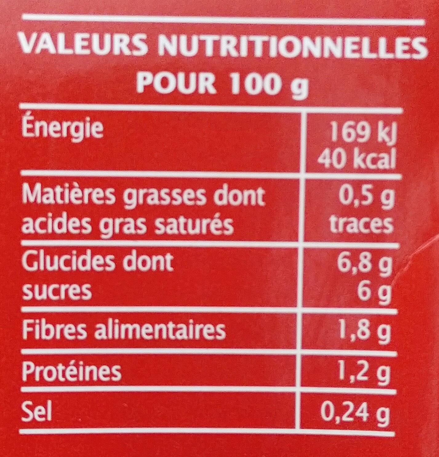 Coulis de tomate Bio 500 g - Jardin BIO' - Informations nutritionnelles - fr