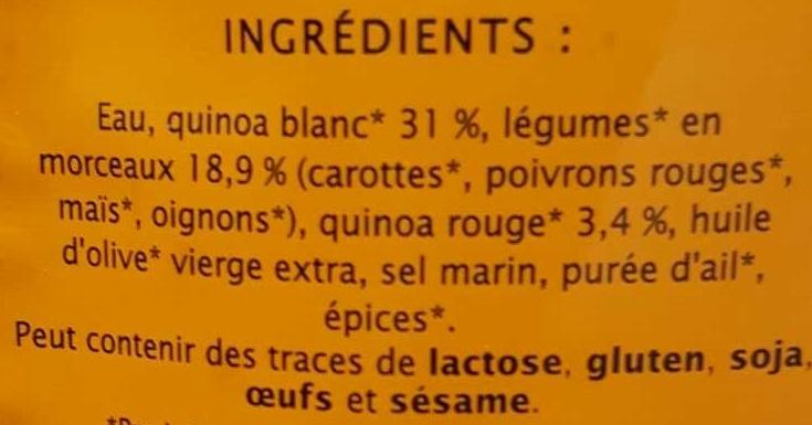 Duo de Quinoa aux Légumes Recette Sud-Américaine - Ingrediënten - fr