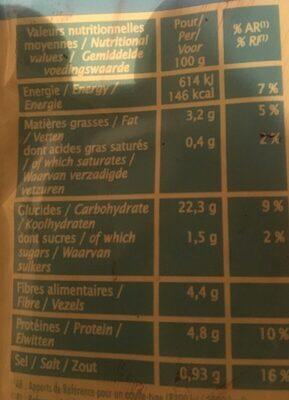 DUO DE QUINOA AUX LEGUMES - Voedingswaarden - fr