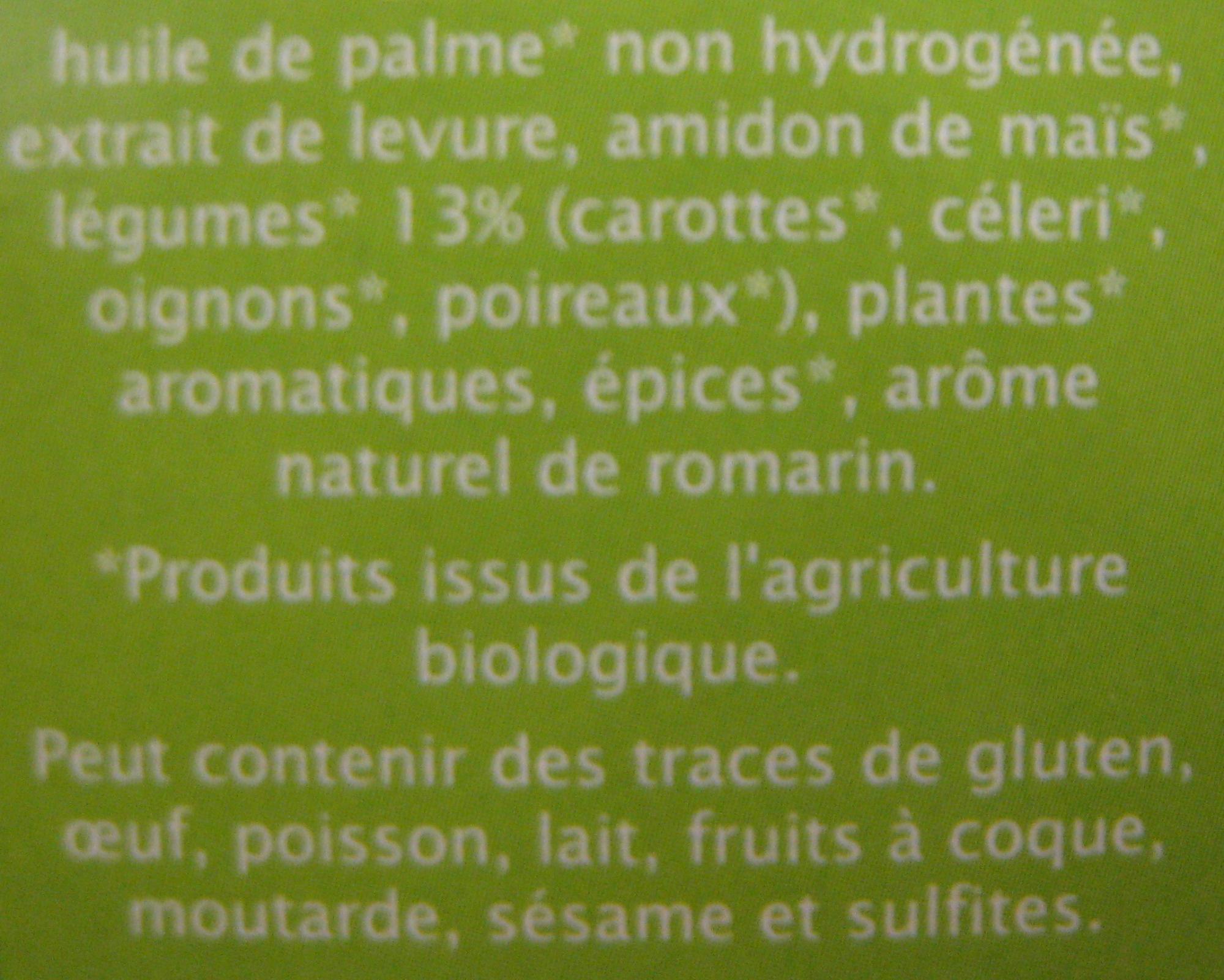 Bouillon cube Légumes sans sel ajouté aromates Jardin Bio - Ingrediënten