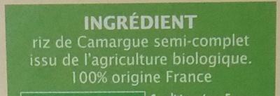 Riz de Camargue semi-complet - Ingrédients - fr
