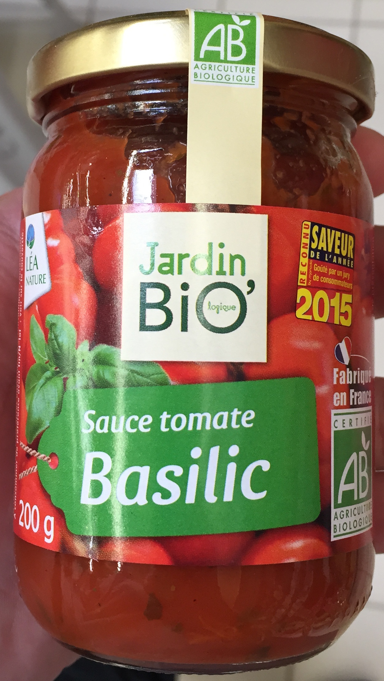sauce tomate Basilic Jardin BIO 200 g