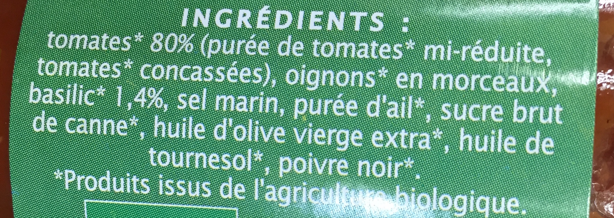 Sauce tomate Basilic Jardin BIO - Ingrédients