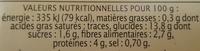 Lentilles cuisinées aux petits légumes - Nutrition facts