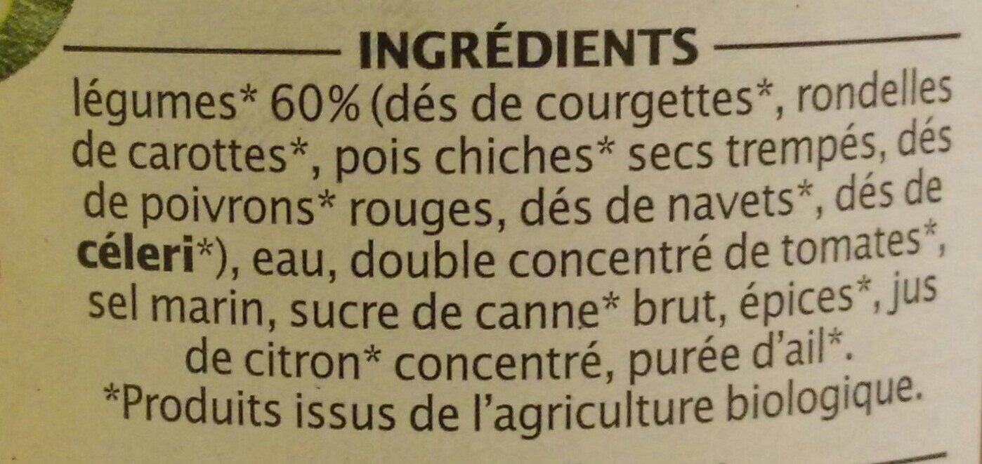 Légumes pour couscous et plats orientaux - Ingrédients - fr