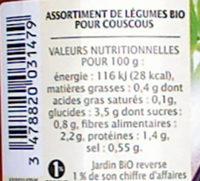 Légumes pour couscous et plats orientaux - Voedigswaarden