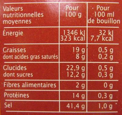 Bouillon cube Boeuf aromates Jardin Bio - Nutrition facts