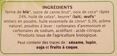 Sablés coco citron - Ingrédients - fr