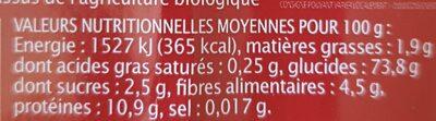 Spaghetti au quinoa tomate - Informations nutritionnelles - fr
