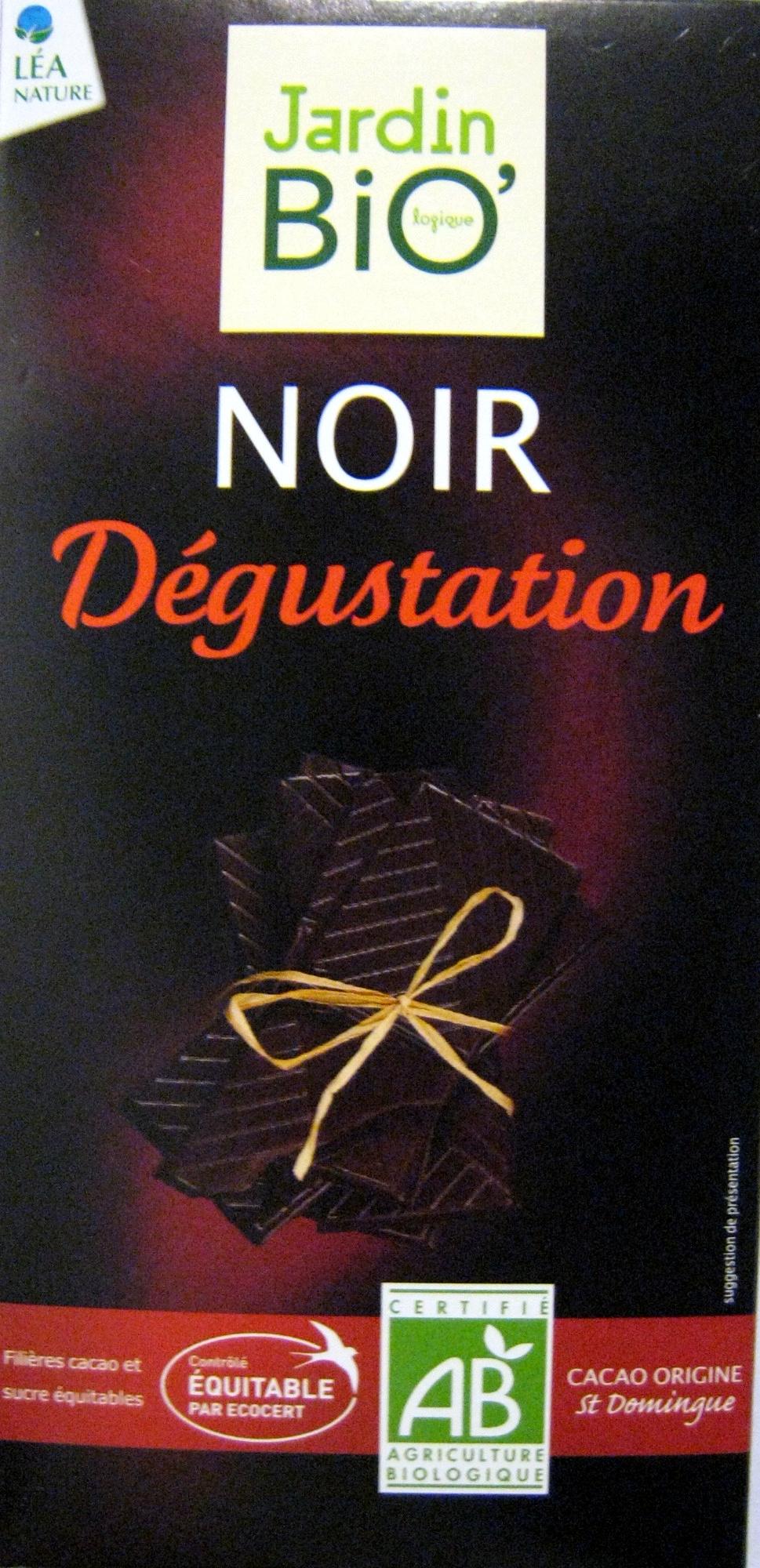 Chocolat Noir dégustation Jardin Bio 100 g