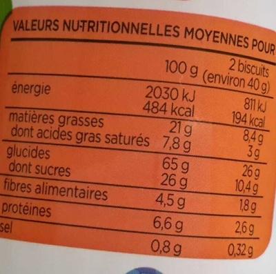 Fourrés chocolat Jardin Bio - Nutrition facts - fr