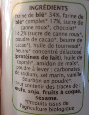 Fourrés Chocolat-Jardin Bio - Ingrédients - fr