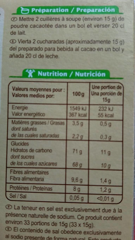 Fourrés Chocolat-Jardin Bio - Informations nutritionnelles - fr