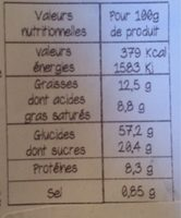 Brioche de Noël Étoile Pur Beurre aux Fruits - Nutrition facts