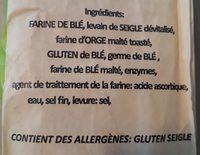 Baguette de campagne - Ingrédients