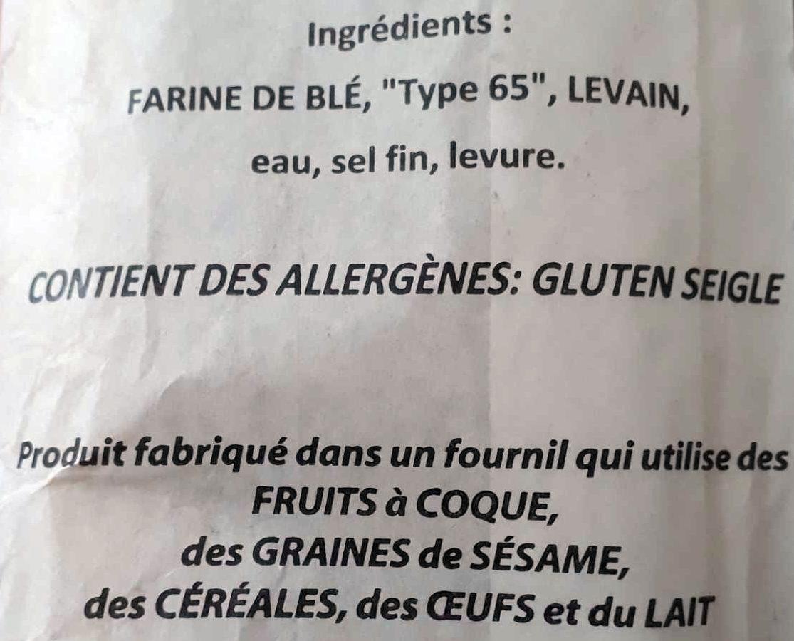Baguette à l'ancienne - Ingredientes