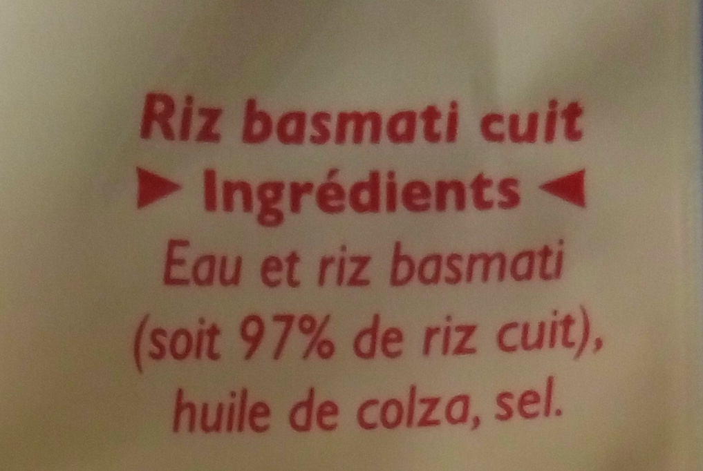 Riz Basmati - Ingrédients